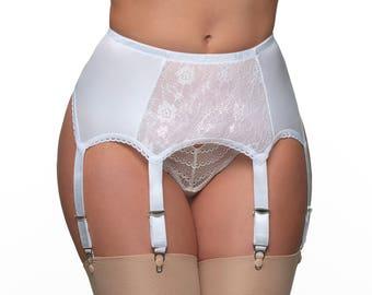 Premier Lingerie 6 Strap Suspender / Garter Belt with Lace Front Panel for Stockings ( PL8 )