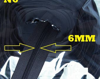 Chain continues Black Nylon spiral roll of 25 meters closure by the yard black number 5