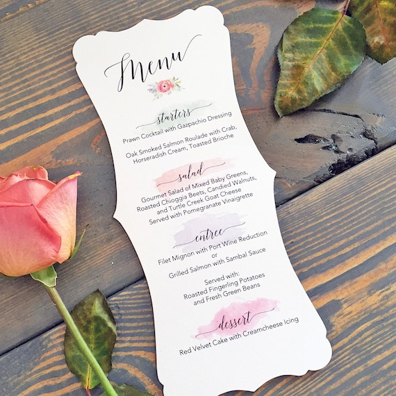 Fancy Cut Wedding Menu on White Shimmer Card Stock with Watercolor Brush Strokes - Custom Colors Available