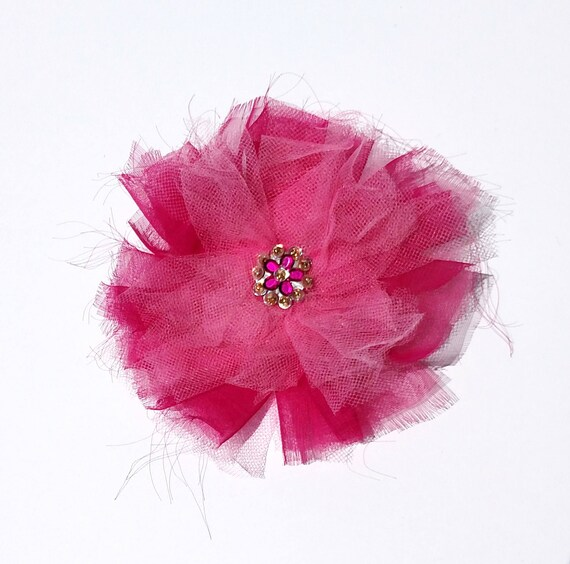 Recycled Vintage Fabric Flower Clip - Pink on Pink