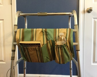 Walker Bag, Walker Caddy, Walker Tote Bag, Walker Purse, Gift for Grandfather, Gift for Elderly, Striped Walker Bag, Father's Day Gift