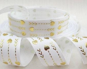 "Gold Arrows Lines Hearts white Grosgrain Ribbon 7/8 "" WIDE GA052018"