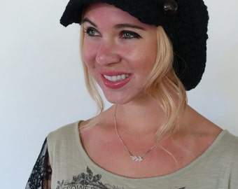 Black Slouchy Hat Newsboy Hat Womens Cotton Hat Summer Hat Crochet Hat Two Leather Button Band Cap Knit Tam Black or CHOOSE color