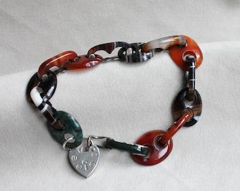Scottish Banded Agate Bracelet, Victorian Agate Link Silver Heart Padlock Bracelet