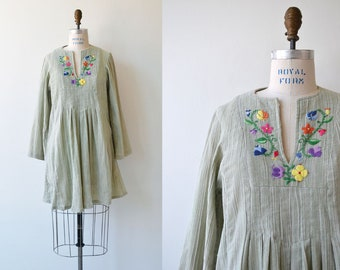 vintage 1970s dress | cotton gauze 70s dress