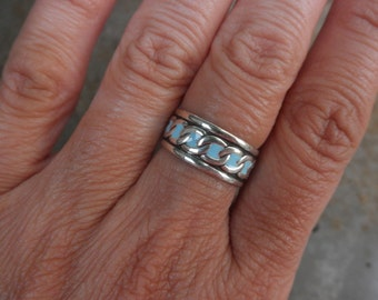 Enamel sterling silver band ring