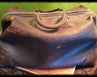Old Doctors / Veterinary Bag. Vinage brown leather bag.