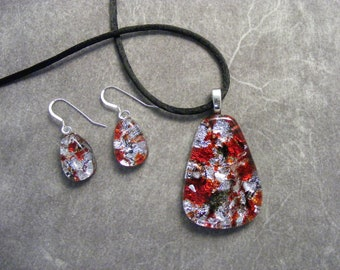 Red & Black on Silver Dichroic Pendant and Earrings Set
