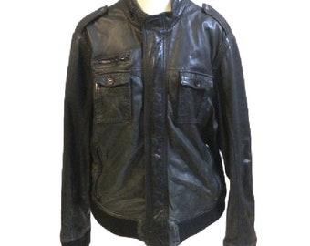 Vintage Men's Black Wilson's Leather Motorcycle Jacket