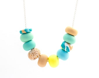 Handmade Polymer Clay Jewelry Necklace: Beachy Keen II
