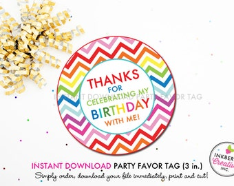 Rainbow Chevron - Printable 3 inch Birthday Party Favor Tags - Instant Download PDF File
