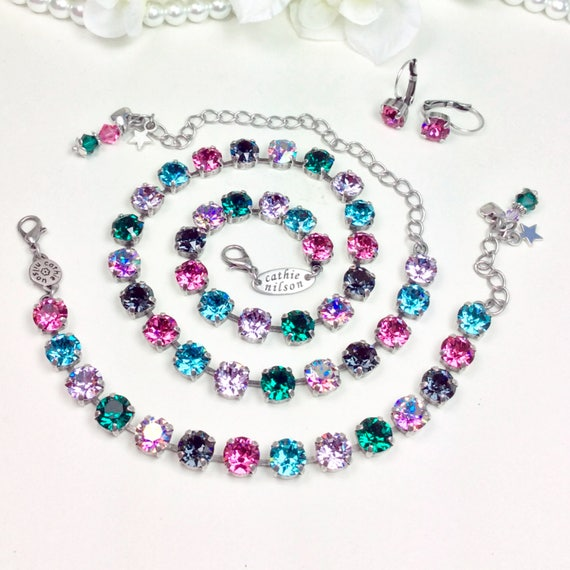 """Swarovski Crystal 8.5mm Necklace """"Camille"""" Gorgeous Off- Beat Shades - Emerald, Rose, Violet, Lt. Turqoise, & Violet AB - FREE SHIPPING"""
