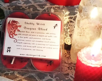 4 Dragons Blood Tea Lights, Loaded with Dragons Blood Resin