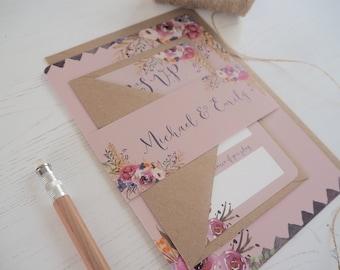 Dusky Pink Floral Bloom Wedding Invitation with matching RSVP - Sample