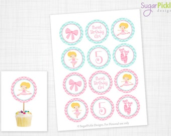 Ballerina Cupcake Toppers, 5th Birthday, Ballerina Birthday Toppers, Ballet Toppers, Ballet Party Decorations - 2.25 inch