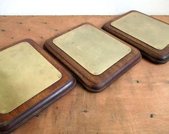 Vintage French Trivets, Set Of Trivets, Brass And Wood Trivet, Brass Pot Stands, Trivets For Hot Pans, French Kitchenware, French Tableware