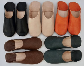 Mens Moroccan Leather Babouche Slippers, Handmade Slippers, Sheepskin Slippers, Mens Leather Slippers, Babouche, Mules, Hand Dyed, Organic.