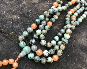 African Turquoise Jasper 108 Bead Mala Necklace