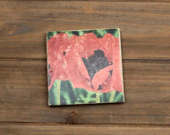 """CLEARANCE - 4"""" Travertine Stone Coaster Tile Photo Transfer Weathered Oriental Poppies"""