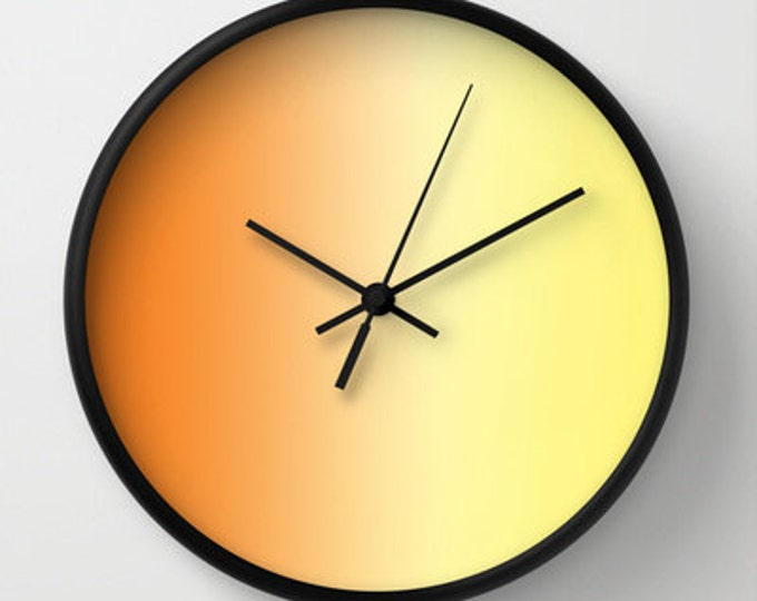 Orange Ombre Wall Clock - Shades of Orange to Yellow - Choice of Frame and Hand Colors - Made to Order