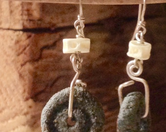 Hand-Carved Concrete Earrings