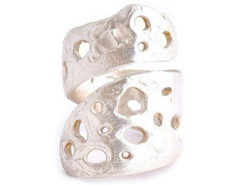 BACK by DEMAND - Sculpted Matte Sterling Crater Wrap Ring Organic Modern Primitive