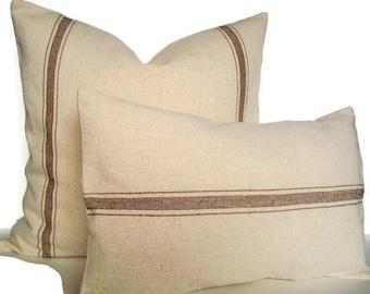 Brown Grain Sack Pillow, Farmhouse Pillow Brown, Tan Grain Sack Look Pillow Cover Tan Stripe Grain Sack Pillow 0