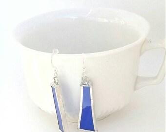Blue stained glass, women gift earrings