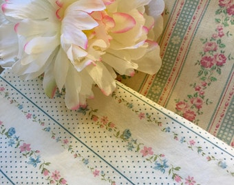 Pair of vintage feather ticking pillow covers pink floral shabby