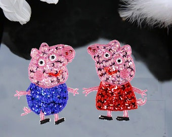Carton Handmade Beading Peppa Pig Patch ,Carton Patch Embroidery
