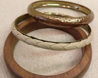 3 Vintage Bangles, Wood Leather Metal
