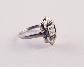 Art Deco Sapphire & Diamond 14k White Gold Ring