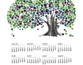 2017 Wall CALENDAR poster - TOP - Love Birds and Trees of Life - wall art calendar gift, print poster for New Year Gift