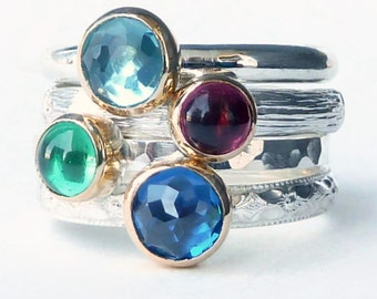 Mothers Ring - 4 Birthstone Stacking Rings - 18k GOLD SETTINGS - Sterling Silver Family Ring - Stackable Rings - Cabochons - Sterling Silver