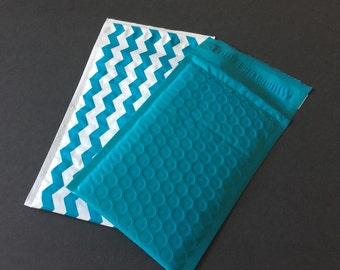 50 4x8 Deep Teal and Chevron Poly Bubble Mailers Assortment Size #000 Self Sealing Padded Shipping Envelopes Spring Easter