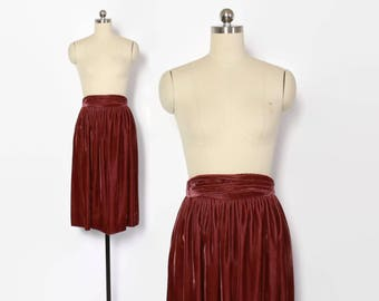 Vintage 70s Velvet SKIRT / 1970s High Waisted Mauve Pink Skirt XS