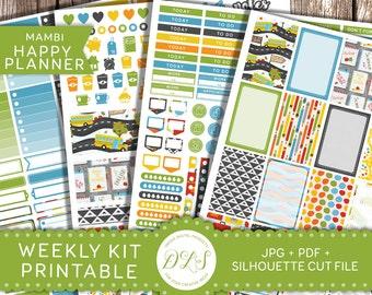 Happy Planner Back to School Stickers, Happy Planner Printable Kit, Weekly Planner Stickers, Mambi School Stickers, School Planner, HP102