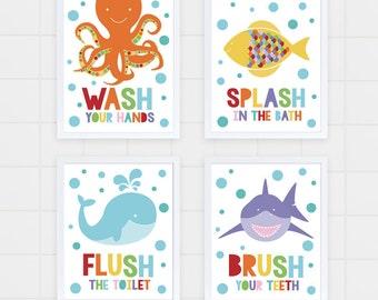 kids bathroom art set - sea themed prints - colourful kids decor, childrens art, wash flush brush splash, shark octopus fish whale, ocean