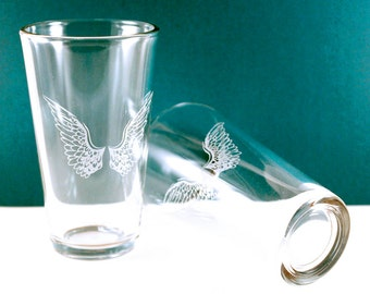 4 Angel Wings Etched Pint Glasses