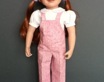 Favourite pink overalls and white print blouse.
