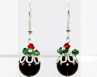 Christmas Pudding Earrings with Icecream or Custard