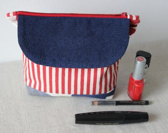 Trousse de toilette, trousse à maquillage, pochette bleu blanc rouge avec poche sur le devant, trousse zipée, idée cadeau