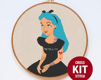 Alice in Wonderland Cross Stitch Kit, Disney Alice Counted Easy Cross Stitch Kit, Modern Couned Cross Stitch Pattern Instructions