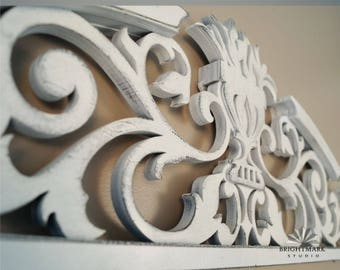 Farmhouse Decor Scrollwork Pediment { Architectural Decor } Vintage inspired artwork for home and living decorations. Shabby Chic White 0500