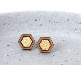 None of your beeswax! - Wooden earstuds with a golden cover