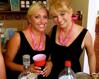 Pink Ribbon and Glass Pearl Bridesmaid Necklace and Earring Set