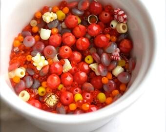 Orange Yellow destash Bead Mix #11 - 100 grams - bright bead soup