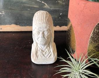 Native American Chief Head Plaster Statue