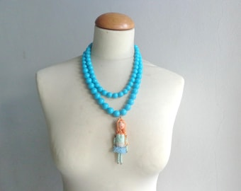 Turquoise necklace, doll Statement necklace, longer style multistrand