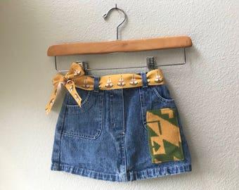 Toddler Denim Skirt Size 18 mo with Oregon Tribal Native American wool Fabric applique Tee Pee Native American Ribbon Belt Kids Skirt